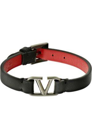 VALENTINO GARAVANI Brazalete De Piel Con Logo V