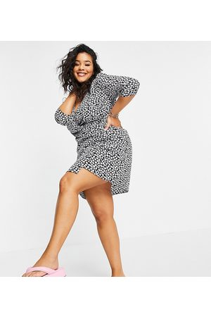 Wednesday's Girl Mini wrap dress in ditsy floral print