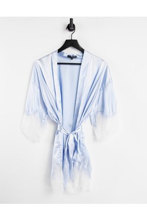 Love & Other Things Stain robe with lace trim in pale blue