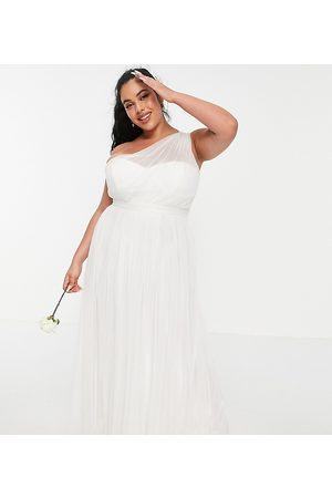 ANAYA Anaya With Love Plus tulle one shoulder maxi dress in white