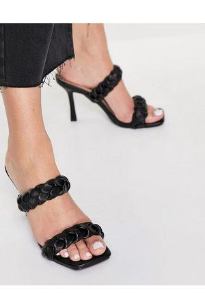 Raid Gemma plaited heeled mules in black