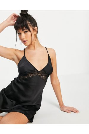 Hunkemöller Nina satin chemise with lace insert and strappy back detail in black