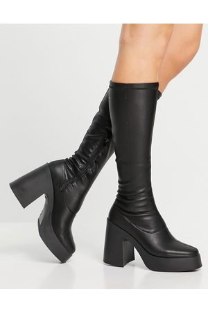 ASOS Challenge chunky high knee boots in black