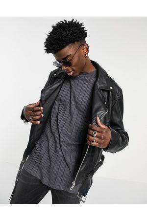 ASOS Cropped leather biker jacket in black