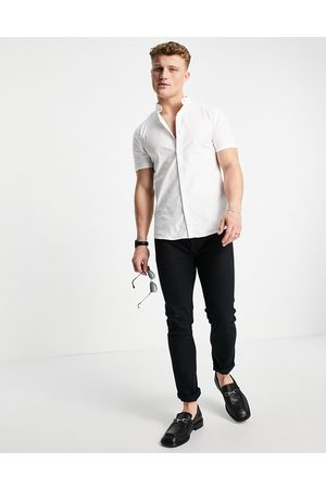 New Look Short sleeve muscle fit oxford in white