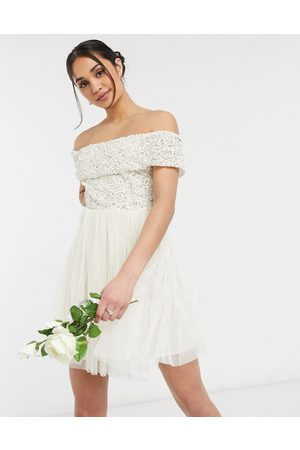 Maya Off shoulder mini tulle dress with tonal delicate sequin in ecru