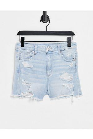 AMERICAN EAGLE High rise denim shorts with distressing in bleach wash