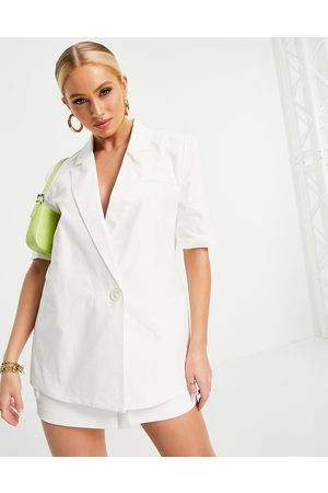 4th & Reckless 4th + Reckless short sleeve blazer in white
