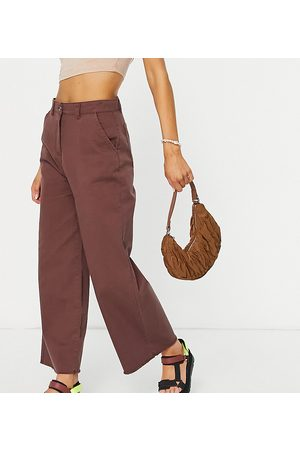 Native Youth Relaxed wide leg jeans in frayed chocolate co