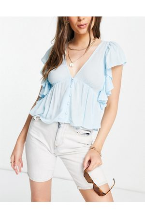 Y.A.S Mujer Blusas - Blouse with peplum hem and frill sleeve in blue