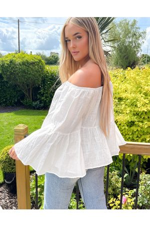 In The Style Exaggerated frill top in white