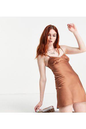 COLLUSION 90's satin mini slip dress with open back in mocha