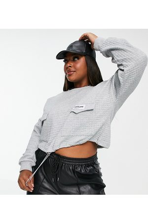 Sixth June Cropped cargo sweatshirt in waffle with toggle waist