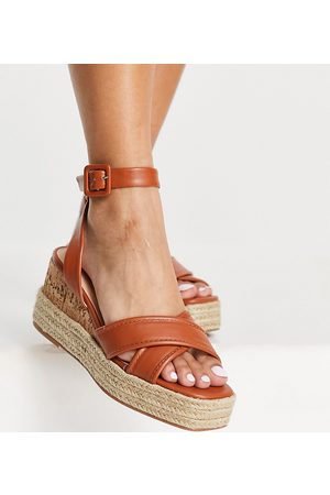 Simmi Wide Fit Simmi London Wide Fit Halima chunky strap wedge sandals in brown