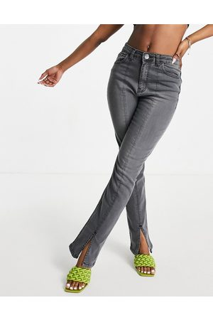 I saw it first Front seam split front denim jean in washed grey