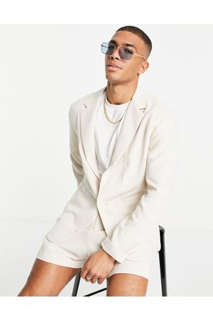 ASOS Soft tailored relaxed oversized suit jacket in ecru crepe