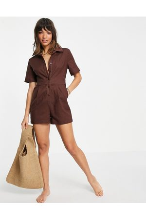 4th & Reckless Mujer Cortos - Beach playsuit in chocolate