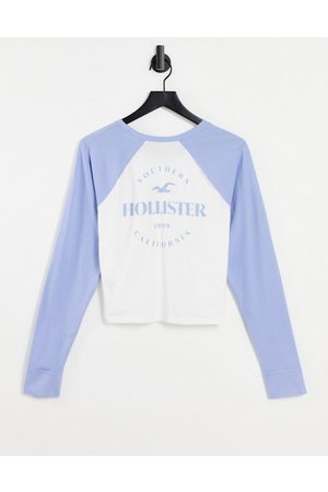 Hollister Scoop neck long sleeve t shirt in white/blue