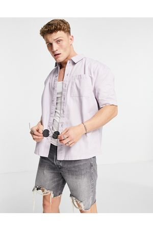New Look Short sleeve boxy shirt in lilac
