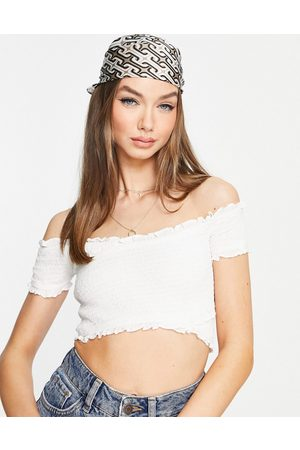 French Connection Shirred off shoulder crop top in white