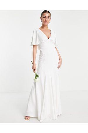 ASOS Victoria flutter sleeve crepe wedding dress