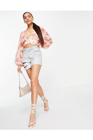 Saint Genies Chiffon plunge crop top co ord in floral print