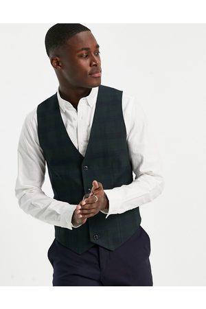 ASOS Skinny suit waistcoat in tonal green and navy check