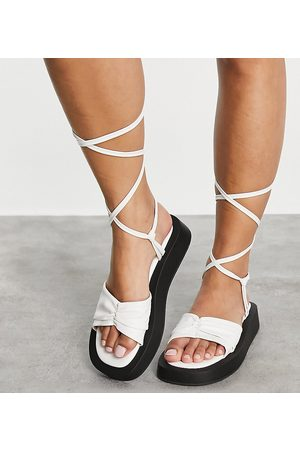 Simmi Wide Fit Simmi London Wide Fit Naeva ankle tie flatform sandals in white