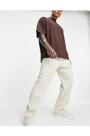 ASOS Wide leg smart trouser in stone crinkle linen