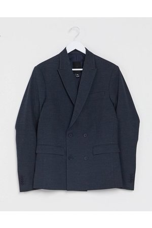 New Look Slim double breasted suit jacket in navy