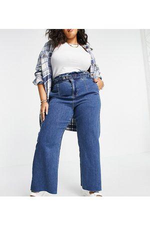 Simply Be Wide leg jean in mid blue