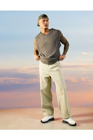 ASOS Wide fit trousers in rib texture in