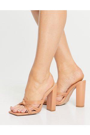 SIMMI Shoes Simmi London Heaton knot front block heel sandals in camel