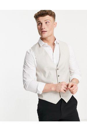ASOS Wedding skinny suit waistcoat in stone cotton linen