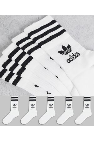 adidas 5 pack mid ankle socks in white