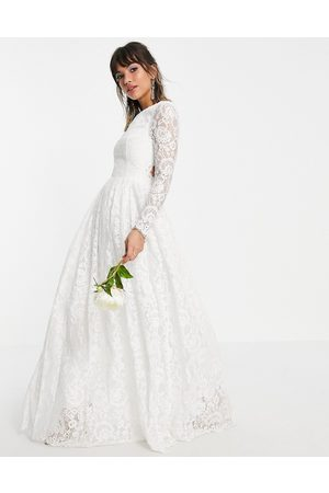 ASOS Odette lace long sleeve wedding dress with open back