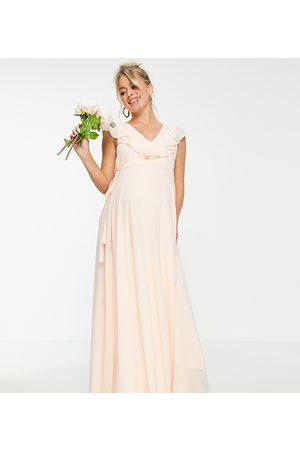 TFNC Bridesmaids maxi wrap dress in ecru