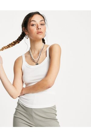 Weekday Mujer Tops - Kristy organic cotton ribbed vest in white