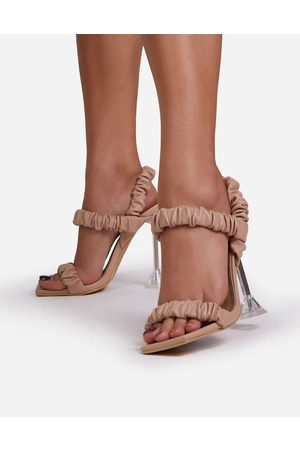 Ego X Maura Bute clear heel sandals with ruched upper in