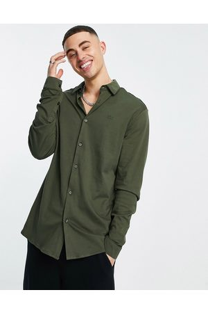 River Island Long sleeve jersey muscle fit shirt in khaki