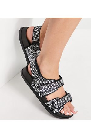 ASOS Wide Fit Factually sporty sandals with diamantes