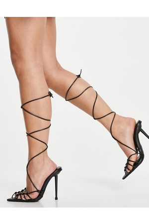 SIMMI Shoes Simmi London Felicia caged heeled sandals in black