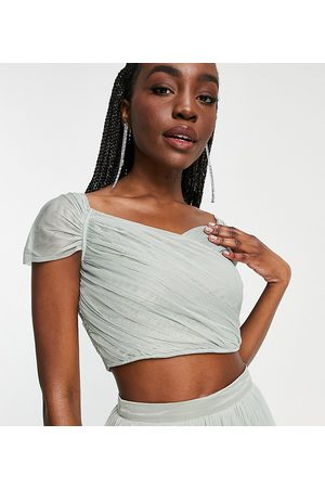 ANAYA Anaya With Love Tall Bridesmaid tulle off the shoulder crop top co