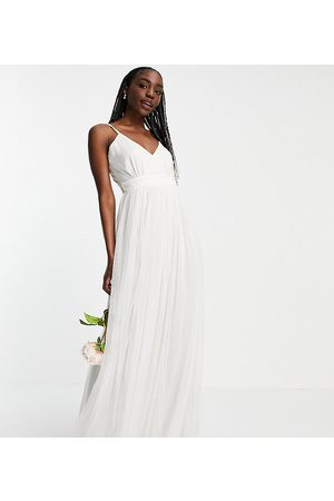 ANAYA Anaya With Love Tall tulle v neck maxi dress in white