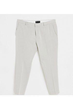 ASOS Plus super skinny oxford smart trouser in grey