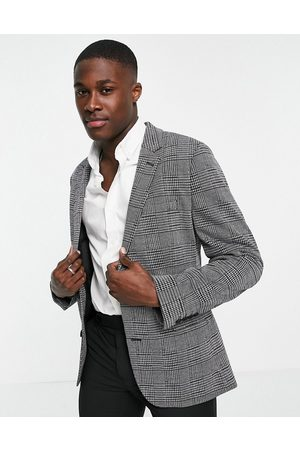 ASOS Super skinny wool look blazer with prince of wales check in grey