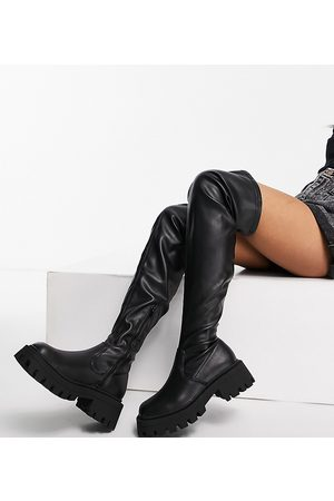ASOS Wide Fit Kassidy chunky square toe over the knee boots in black