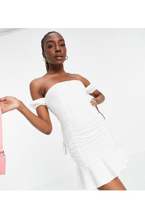 Parisian Off shoulder ruched detail mini dress in white