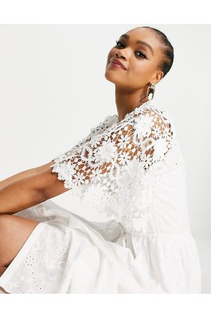 French Connection Cecily broderie dress in white