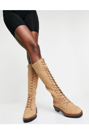 ASOS Courtney chunky lace up knee high boot in sand